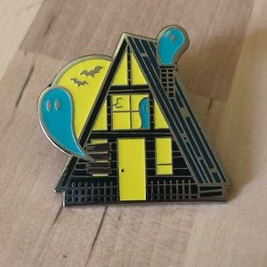 Spooky A-frame haunted cottagecore pin